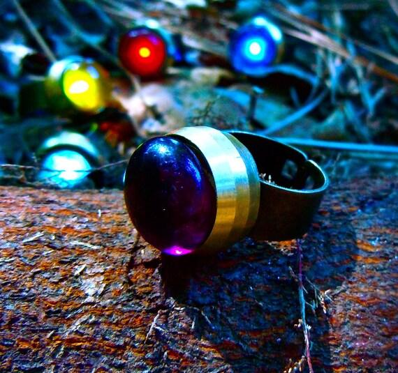 Brass Pale Indigo Sunset Autumn Night Light Ring - Glow in the Dark - Adjustable