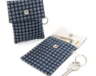 Blue and White Checks Keychain Pouch