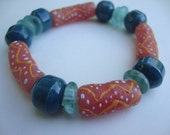 Autumn Warmth African Trade Beads Stretch Bracelet