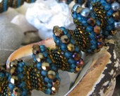 Cellini Spiral Beaded Necklace (Peacock Blue)