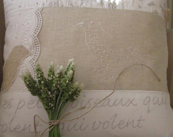 French text collage pillow (linen and lace)