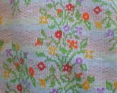vintage cotton KNIT floral Bouquets 1-2/3 yards TUBE Stretch