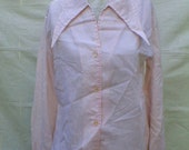 70s PINK lng sleeved BLOUSE  long collar tips sz 36