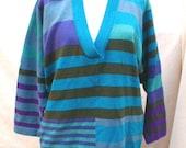 GISPA vintage ITALIAN Lambwool Pullover Sweater Cool Tones vintage  80s Blues Greens Purple Turquoise NOS