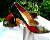 Snake Skin Pumps gorgeous multi color patchwork Berne of Switzerland High Heels 5 or 6 measure