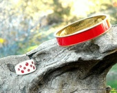 Monet Red and Gold Bangle Plus Bonus Lucite and Rhinestone Ring sz7 Holiday Accessory Peppermints