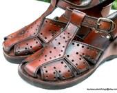 70s Leather Wedge Sandal Wooden Wedge Cute T strap Huarache style Deadstock  NWOT EUC True vintage sz 6.5B made in Brazil