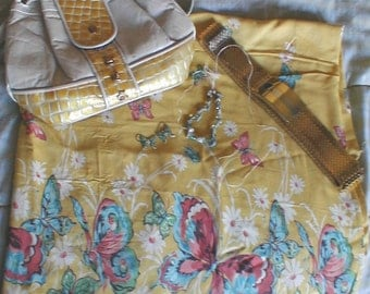 40s Rayon Fabric  Butterfly print a Custom DYI Ensemble   7.5 Shoes Purse Necklace Belt Sunglasses Earrings Complete Outfit
