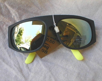 DEADSTOCK SUNGLASSES 1980s Mirrored LENS DAY GLO SPATTERED purple dayglo Yellow COOL to the MAX