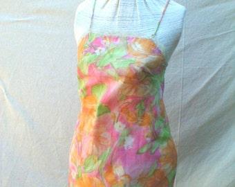 Vintage Mini Dress SLIP Mod Print Floral Cute SHORT tru vintage sz 32 bust 37 Hip