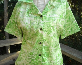 70s LADIES BLOUSE poly knit with country SCENES in Novelty Print