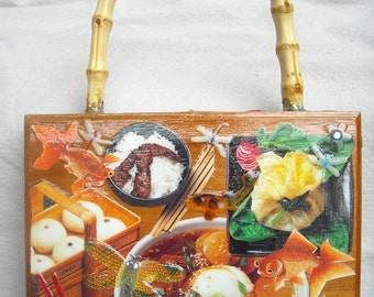Cigar Box PURSE Oriental Bizarre Japanese Foods Gold Fish DRAGONFLY one of a kind PLUS
