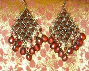 Vintage Hippie Era earrings pierced PinkRose Beaded LARGE and cute