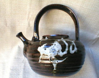 Vintage Hand Thrown Teapot Needs Cork Stopper Sanded Clay Very well Executed
