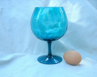 Italian Optic Glass 60s Vase Goblet in Turquoise a  Brandy Snifter or Bloom Bowl or Candle