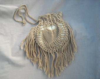 Vintage Hand Crochet Cotton String Purse Just Call Me Old Fashioned Fringe and All