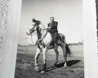 Old Photo of Man on TALL Horse Pinto or Paint Steed Equine Draft or Working Farm Horse 3-3/8th by 5-1/4 Glossy