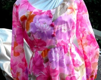Andrade of Honolulu Bright Bold Hawaiian Dress Chiffon Evening Formal Party Dress Maxi Length