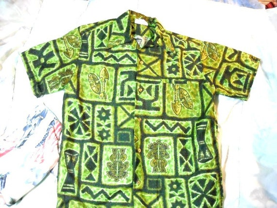 Barefoot In Paradise Hawaiian Shirt Cotton Sateen TIKI guy Green  and Lime Fun sz Medium