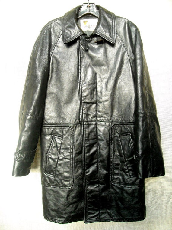 Lakeland Leather Car Coat vintage 60s  AMAZING Quality sz 38 to 42 M to L  Black Leather  Soft and Supple