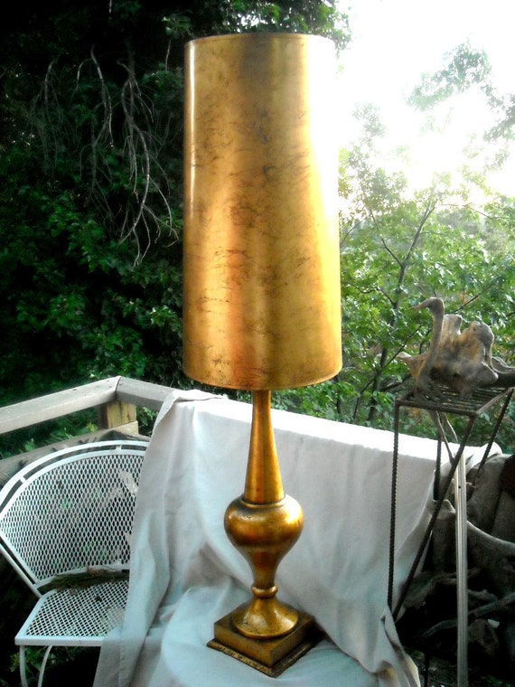Hollywood Regency Gild Gold Lamp I dream of Genie Turned Wood Wonder Height of Posh TALL and Imposingly Regal