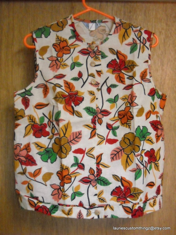 Koret of California 1959 Deadstock Playsuit Capri Pant and Pullover Tank Style summer top Print Floral Hopsack CUTE vintage sz 18