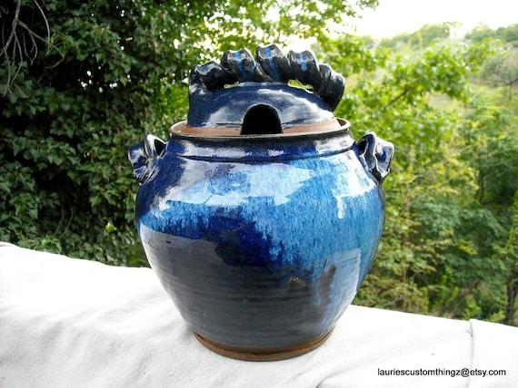 Hand Thrown Pottery Jar Soup Tureen Giant Honey Jar Herbs Jar Cobalt Blue and LARGE 60s 70s Lava Drip Glaze HIPPIESQUE