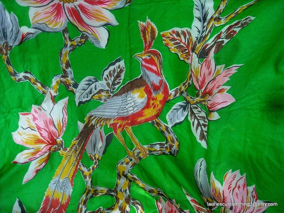 Silk Scarf Green Sheer vintage hand rolled Edge Classic Pictoral Scarf 50s Large