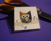 Andy the Owl Fabric Art Magnet - Fabric Ink Colored Pencil Original Artwork