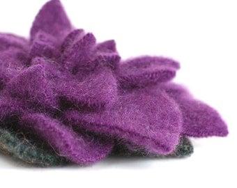 Royal Purple Gardenia - Eco Friendly Cashmere Wool Flower Pin