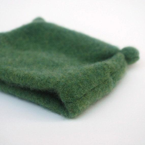 Cashmere Animal Ears Hat - Newborn Baby Gift - Moss Green