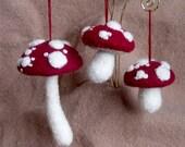 Christmas ornaments Burgundy Mushrooms Toadstools Felted Handmade