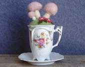 Teacup Pin Cushion Pastel Pink Mushroom Garden Wool Felt