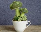 Spring Mushroom Garden in a Teacup Pincushion