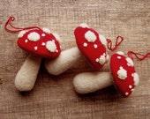 Three Red And White Mushroom Ornaments Handmade Wool Felt