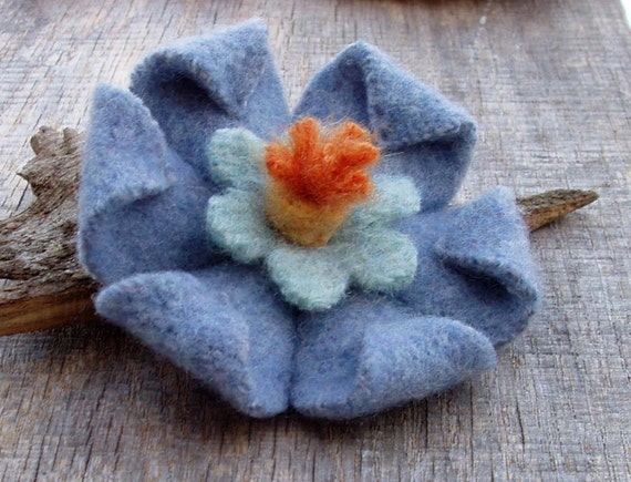 Sky Blue Blossom Brooch Felted Wool