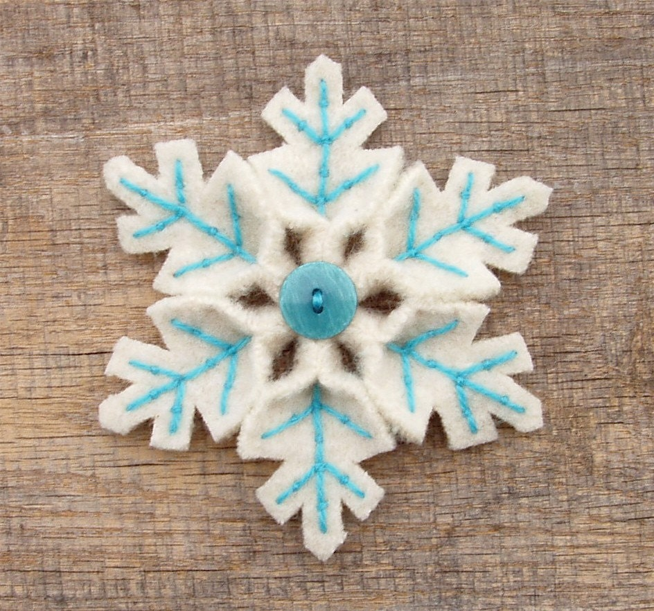 Snowflake Pin Turquoise And White Holiday Handmade Felt Pin