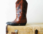 brown and black leather .vintage. cowboy boots