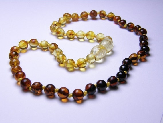 NEW LUXURY ROUND Rainbow amber teething necklace for your baby