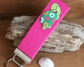 Pink and Green Preppy Kawaii Turtle Key Fob, Key Chain