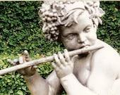 Cherub with Flute - Stone Garden Angel - Original Colour Photograph by Suzanne MacCrone Rogers