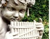 Cherub with Harmonica - Stone Garden Angel - Original Colour Photograph by Suzanne MacCrone Rogers