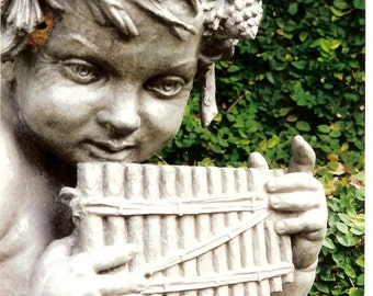 Musical Cherub - Stone Garden Angel - Matted Photo Art - Original Color Film Photograph by Suzanne MacCrone Rogers