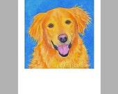 Happy Golden Retriever Dog Art - 5 Blank Note Cards With White Envelopes - Ranlett
