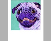 Purple Pug Dog Art - 5 Blank Note Cards With White Envelopes - Ranlett