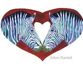 Zebras Heart Love - Signed Fine Art Print - Ranlett