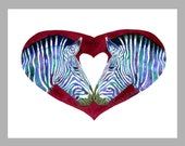 Love is Not Black and White - Zebras and Heart - 5 Blank Note Cards With Matching Envelopes - Ranlett