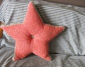 Pink Star 1950s Pillow Glitter and gray upholstery fabric