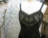Vintage Black slip 60s Chantilly  lace nylon  size 36