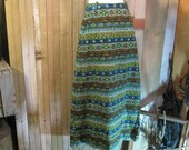 Vintage southwest maxi skirt 1960s ethnic Blue print big belt loops